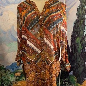 Fig and Flower Sheer Brown Print Down Blouse